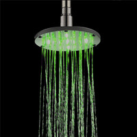 Brand new LED 7 colors changes showerhead round shower head 6 and 8 inches LED light Shower head bathroom rainfall shower head