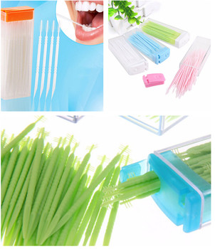 50pcs/box Dental Floss Interdental Toothpick Brush Brush Teeth Stick Dental Oral Care Toothpicks Floss Pick Double Head