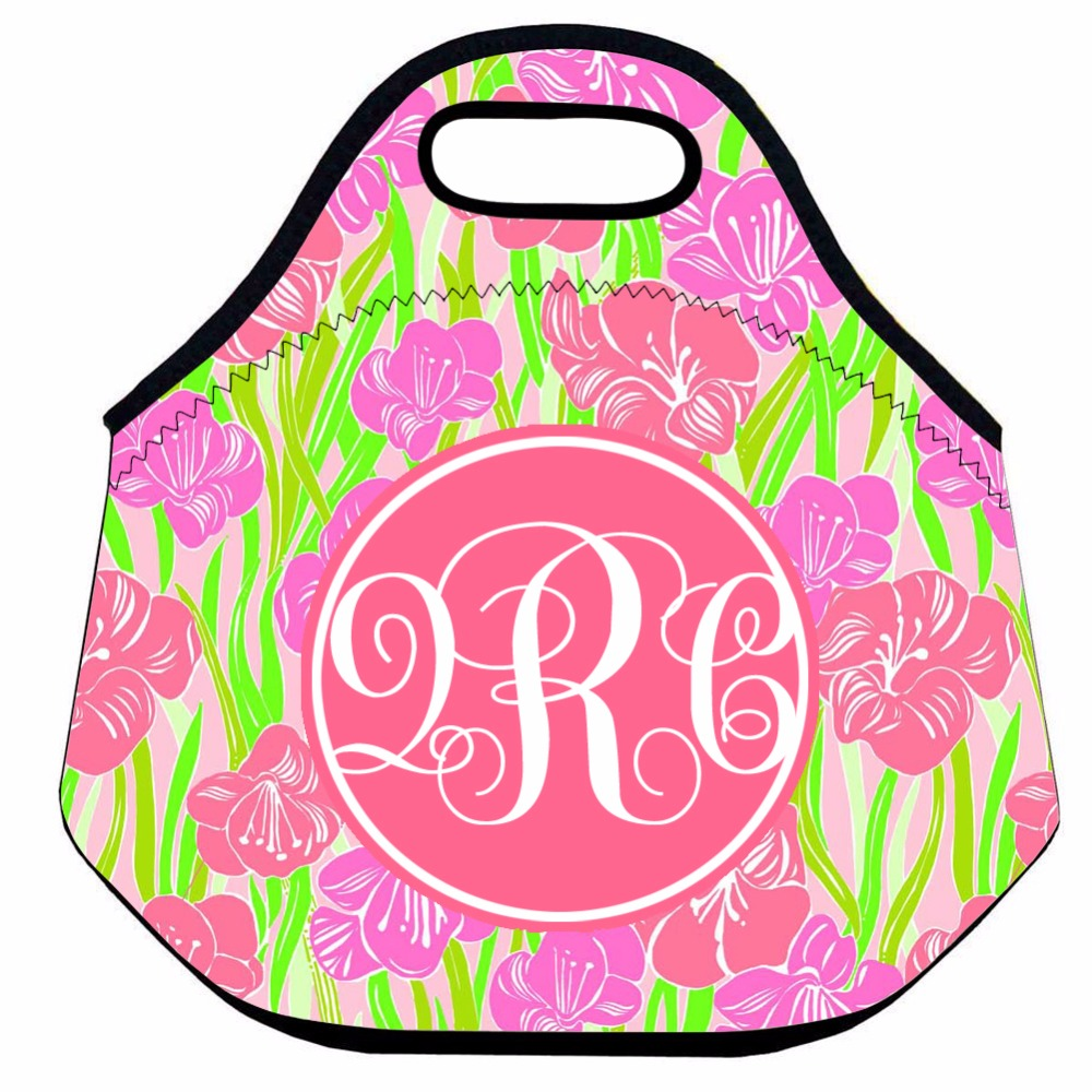 Personalized Lunch Bag for Women,Flower Insulated Thermal Lunch Bag for Kids,Neoprene School Lunch Bag,Food Picnic Box Bag
