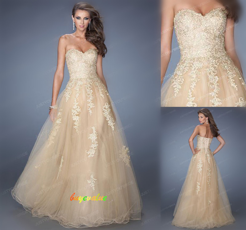 2018 champagne Lace graceful  and New style evening/bridemaid/party/dress! Queen of the evening!