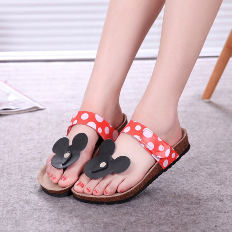 Woman Sandals Summer Mouse Shoes Mujer Cute Dot Flip Flops Women Cork Slippers Ladies Girls Flat Sandals Beach Shoes Plus Size coolfar 2016 new summer print sandals wedges polka dot slippers girls thick soles casual solid med cork flip flops