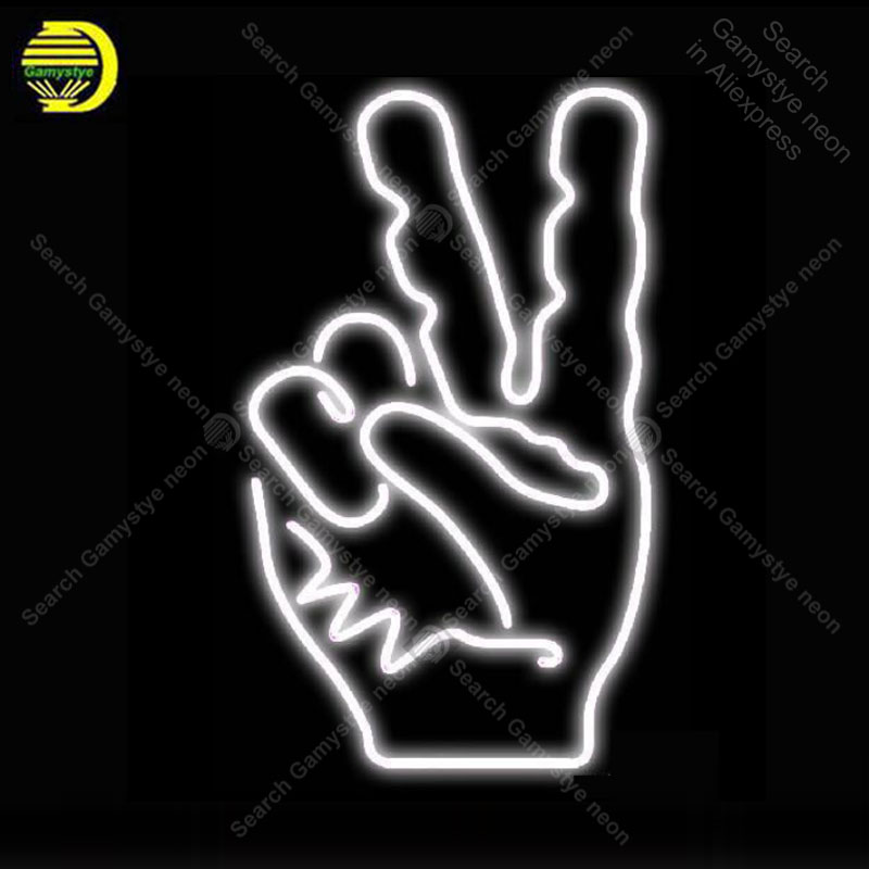 US $94 72 26% OFF|NEON SIGN For White Peace Fingers NEON Bulbs Sign Lamp  Decor Home Wall Store Room Handcraft Beer light up signs lights for sale-in