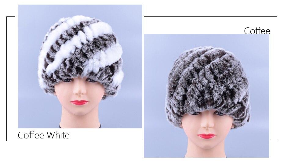 Raglaido Rabbit winter fur hat for Women Russian Real Fur Knitted Cap headgea Winter Warm Beanie Hats 2019 fashion brand LQ11279 30