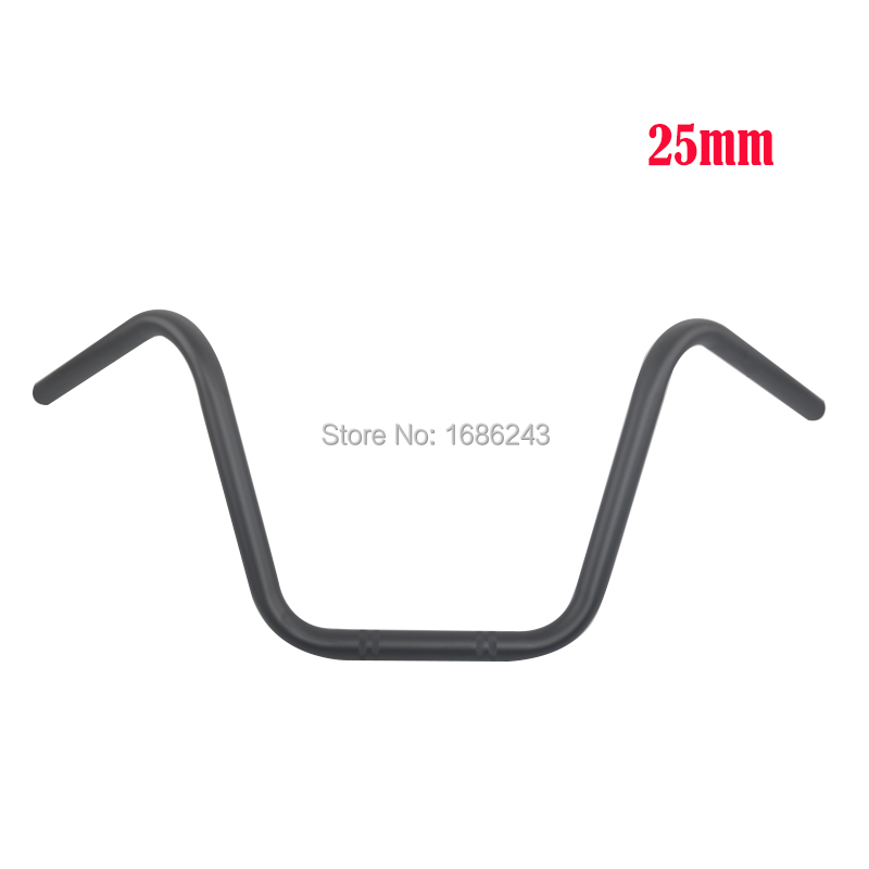 Black 25MM 1 Motorcycle High Rider Steel Handlebars Bars Fits For Honda Kawasaki Suzuki Harley Chopper