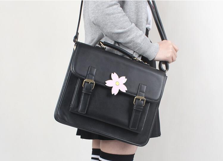 Japan JK Uniform Bag Lolita Style Women Lady Girls Sakura Cherry Flower Handbag Messenger Bag Vintage School Bag