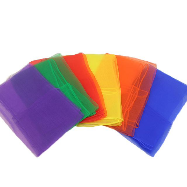 990218007472b8 12 sztuk Hemmed Square żonglerka taniec szalik (różne kolory) TJK002 ...