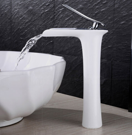 New Arrivals Chrome and white color Waterfall Faucet Tall Bathroom Faucet Bathroom Basin Mixer Tap with Hot and Cold Sink faucet