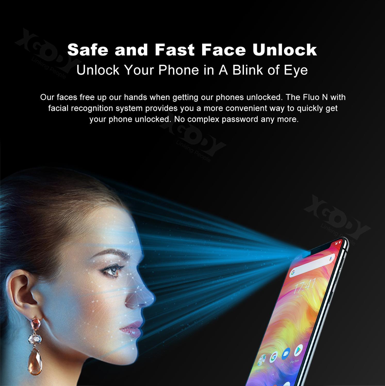 19:9 encoche écran XGODY Fluo N 4G déverrouiller 5.7 pouces Smartphone Android 8.1 Oreo Quad Core 3 GB + 32 GB Face ID téléphone Mobile 2500mAh - 6