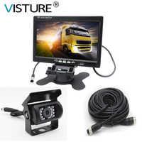 7 Inch TFT LCD Auto Monitor + 4 Pin IR Nachtzicht Achteruitrijcamera voor Bus Truck RV caravan Trailers Visture H01