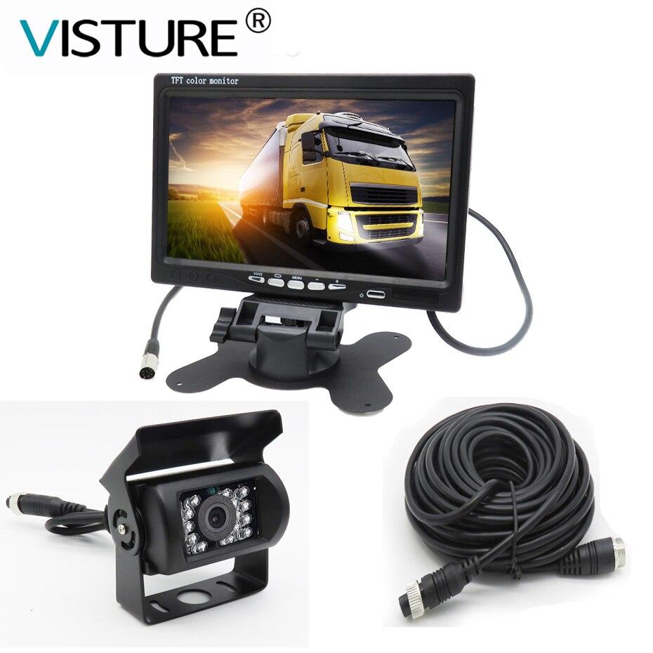 7 Inch TFT LCD Car Monitor Display 4 Pin IR Night Vision Rear View Camera for