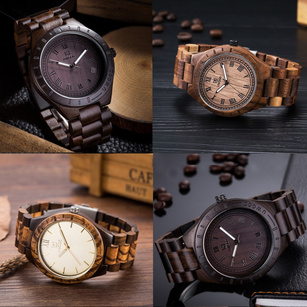 New Top Brand UWOOD Watches Wood Japan Movt Black Walnut Wood Quartz Watch Mens WirstWatches Wooden Relogio Feminino Masculino new brand movt 00805516