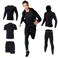 Hamek Men's Sports Suit Running Set Basketball Trainning Fitness GYM Workout Tights Compression Shirt Leggings Reflective Jacket