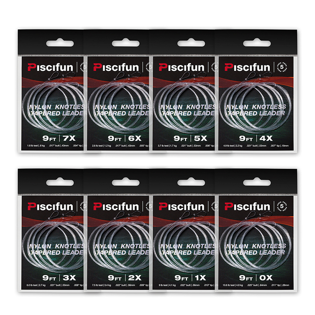 5 6 Pieces Nylon Clear Fly Fishing Tapered Leader With Loop 7.5FT 9 FT 12FT 0/1/2/3/4/5/6/7X