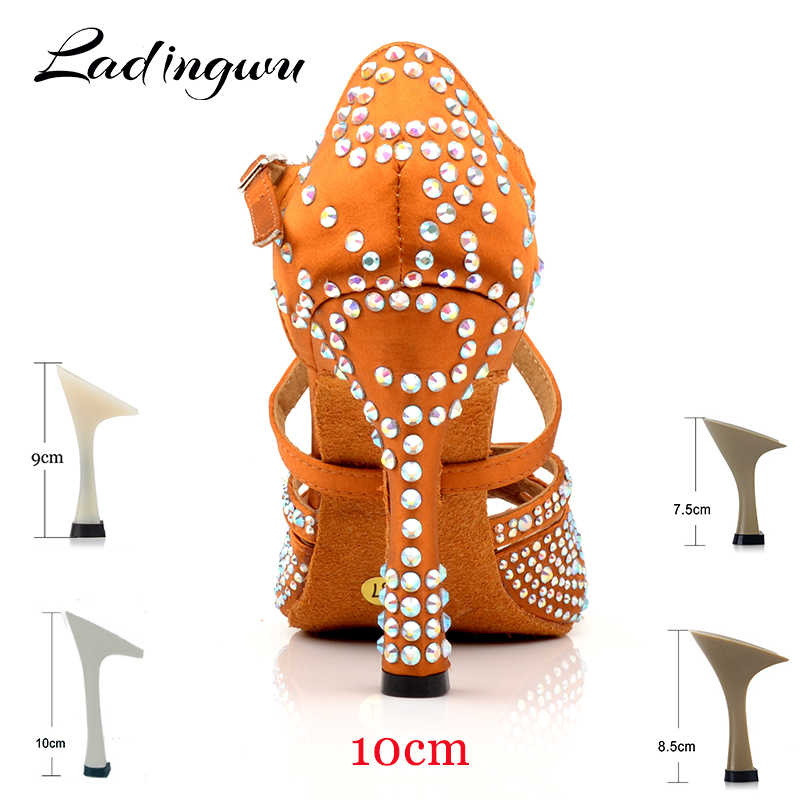 Ladingwu nuevo zapatos de baile latino mujeres nuevo láser de diamantes de imitación satén Salsa fiesta baile zapatos bronce Cuba alta tacón 10 cm