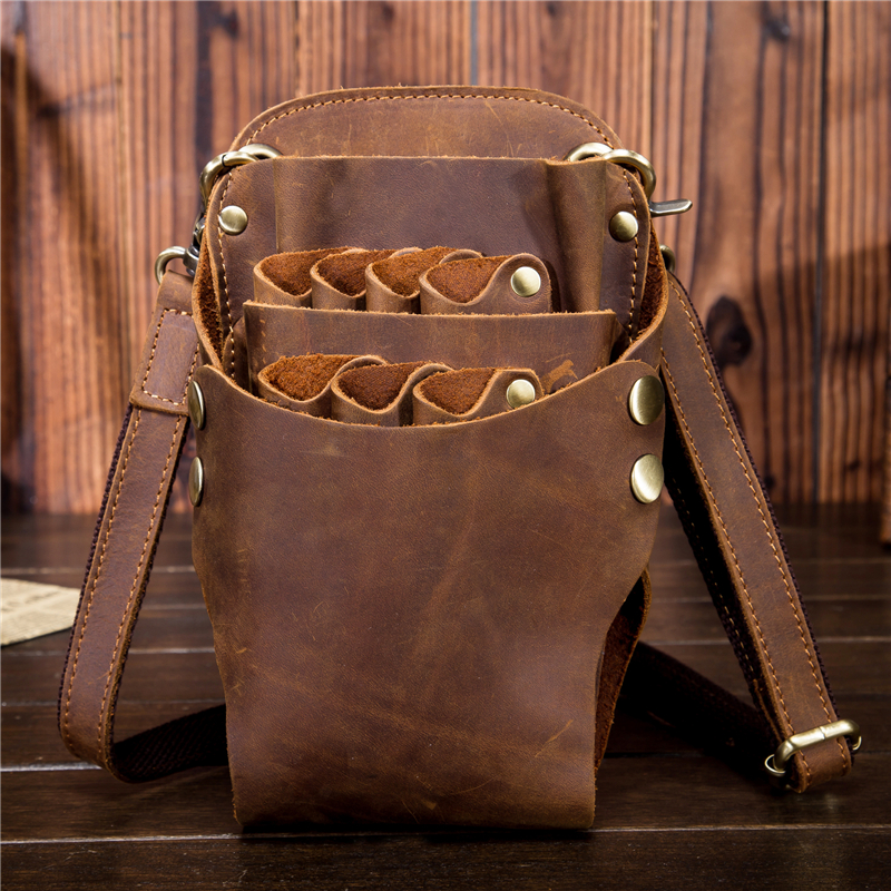 YISHEN Genuine Leather 7 Slots Barber Hair Scissor Bags Hairdressing Holster Pouch Holder Case Bag With