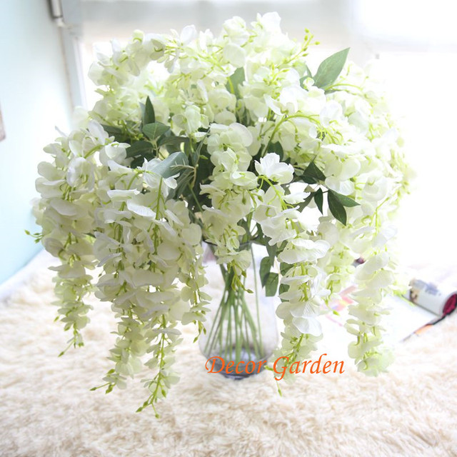 Artificial silk wisteria flower for diy wedding arch square rattan artificial silk wisteria flower for diy wedding arch square rattan simulation flowers wall hanging basket white mightylinksfo