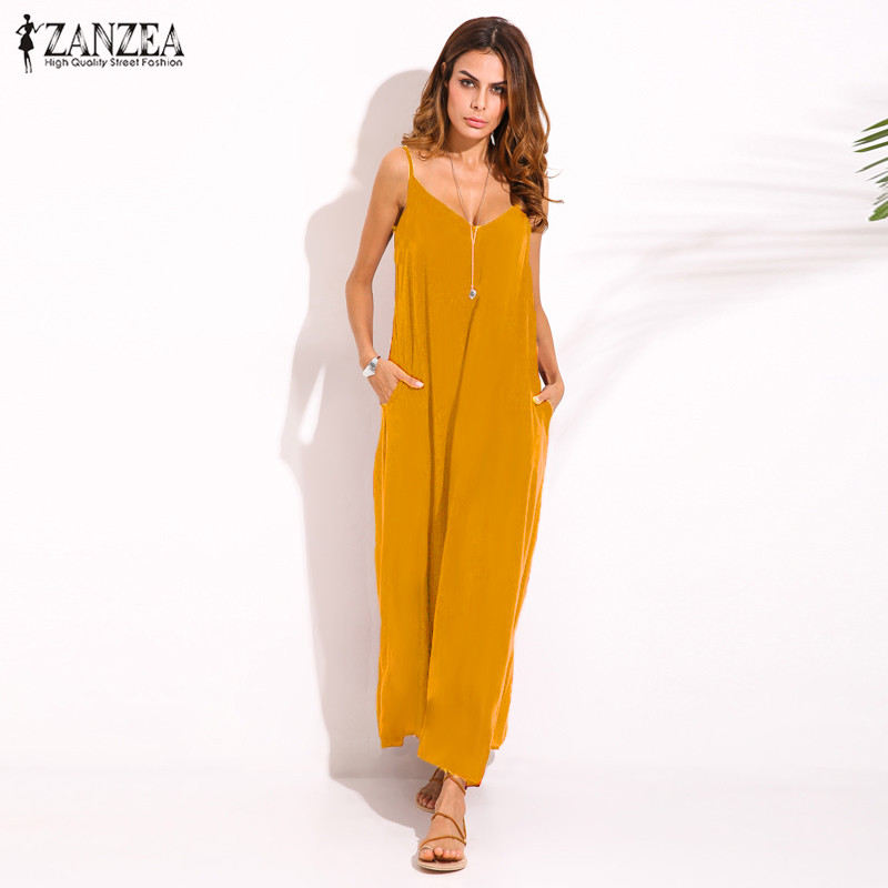 Zanzea 2018 Summer Style Women Boho Strapless Sexy V Neck Sleeveless Dress Casual Loose Long Maxi Solid Dress Vestidos Plus Size 1