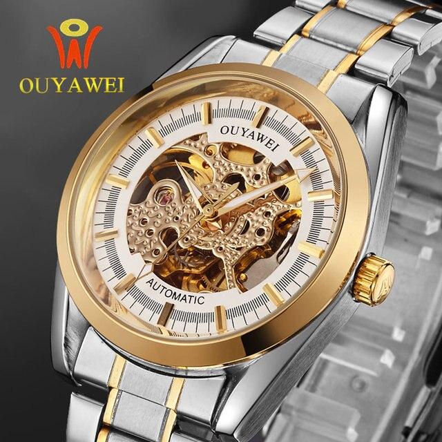 ae6f5dfb443 OUYAWEI marca elegante reloj de acero inoxidable banda hombre reloj  mecánico automático del mismo-viento