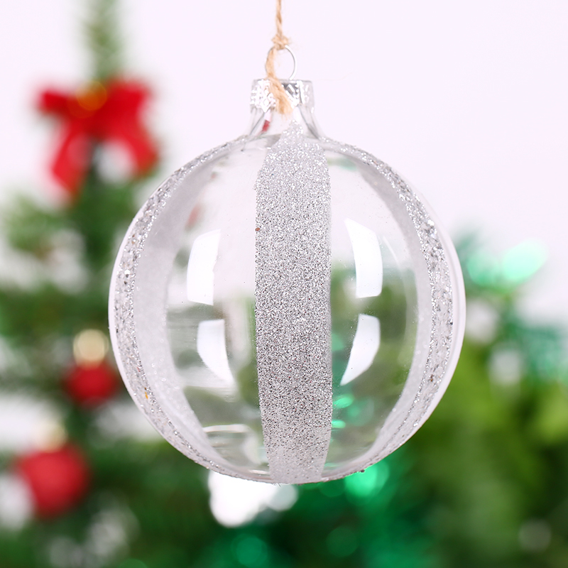 Christmas Ornament Supplier Clear Glass ball with silver ...