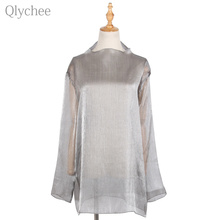 Qlychee Summer See Through Women Blouse Shiny Silk Gauze Long Sleeve Loose Female Shirt Turtkeneck Sunscreen Blouse