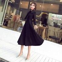 New Autumn Women Long dress Bow Slim Firm Offers Her Little Society Dresses Black 9669