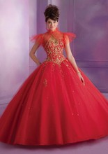 In 2016 the hottest ball gown woman dear piece of gold beads/decals floor-length tulle into a wedding dress