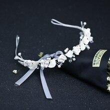 New Flower Silver Pearl Hair Accessories Bride Rhinestone Leaves Headband Tiaras Wedding Women Crowns Hairbands Hair Jewelry