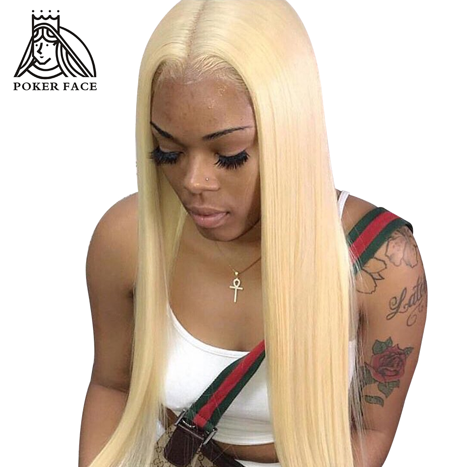 Poker Face Transparent 613 Blonde Lace Front Wig Preplucked with Baby Hair Straight Peruvian Remy Huamn