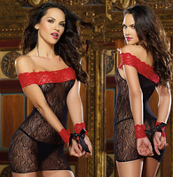 Sexual Product Sexy Women Perspective Lace Lingerie Slash Neck Erotic Night Dresses Backless Print Costumes Vestidos