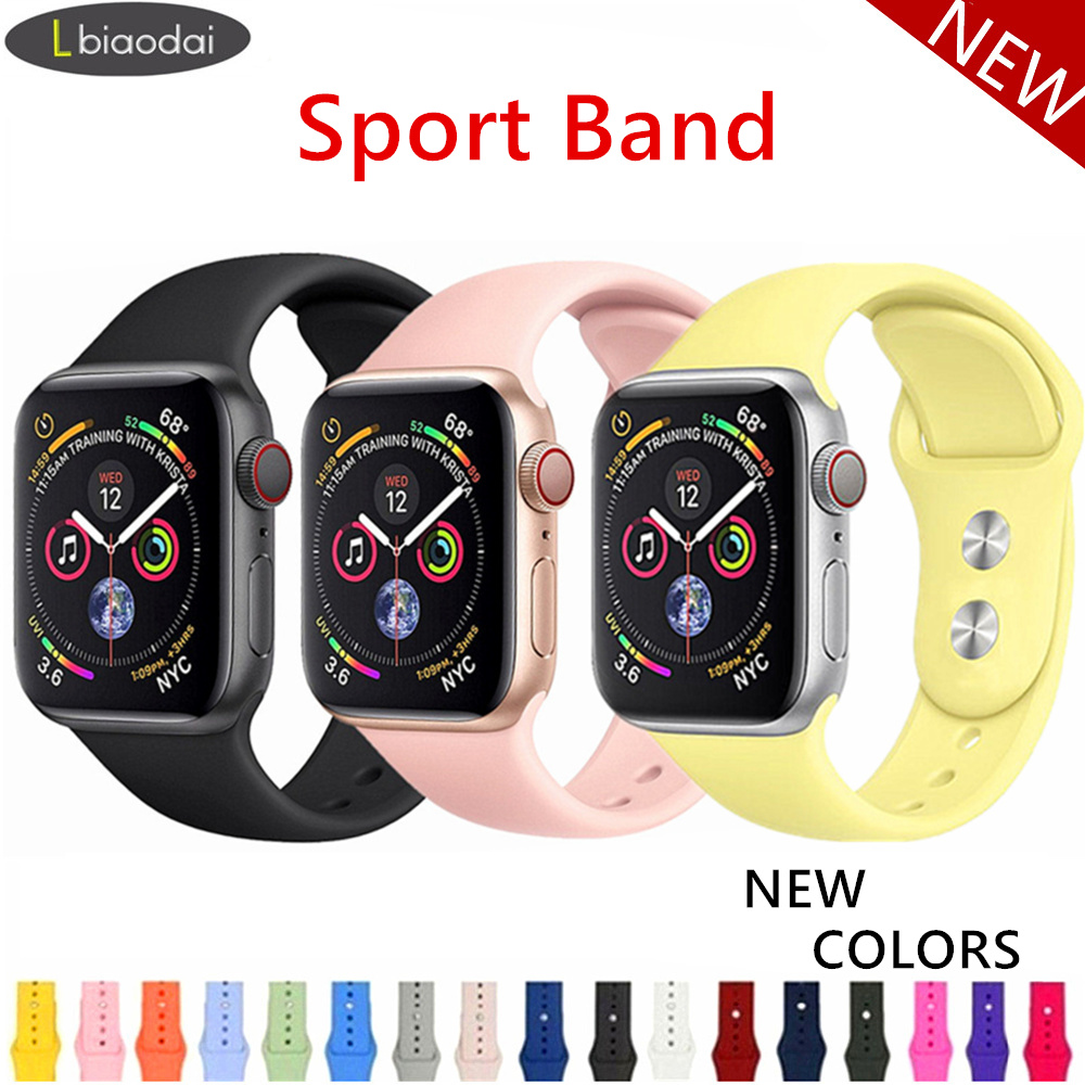 Sport strap For Apple Watch band 42mm 38mm iWatch 3 2 1 Soft Silicone bracelet watch belt Watchband for Apple Watch 4 44mm 40mm|Watchbands|   - AliExpress