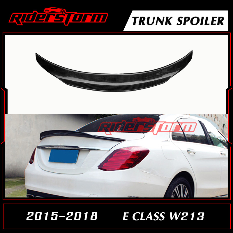 E Class W213 PSM Style Carbon Spoiler With 3M Tape Rear Tail Wing Bootlid Lip for Mercedes E200 E250 2016-2017 4 Door Sedan цена