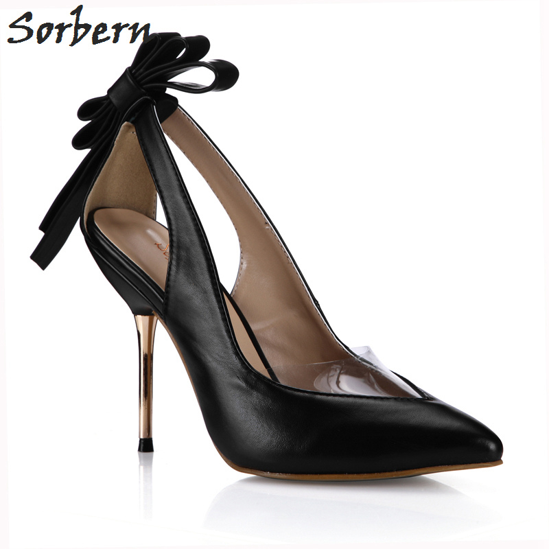 Sorbern Women Pumps 10.7CM Gold Metal Heels Pointed Toe PVC Ladies Party Pump Bow Fashion Pumps High Heels Eveing Shoes Pump sorbern women pumps 2018 pointed toe metal heels 10 7cm high heel ladies dress shoes slip on fashion party pumps shoes