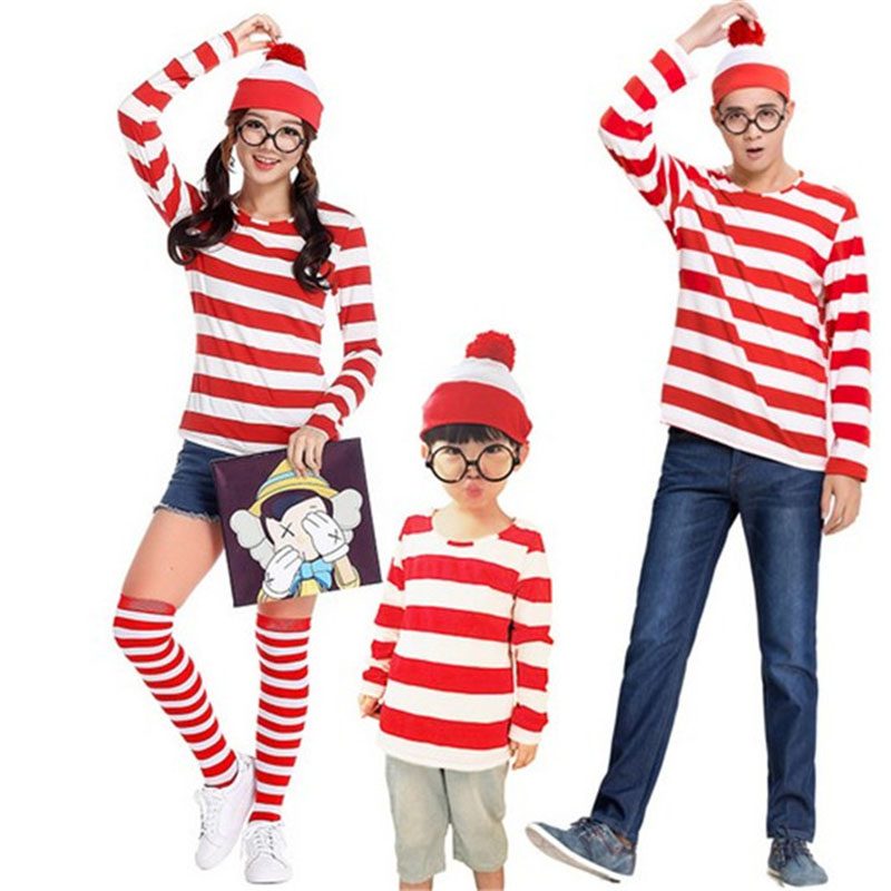 Parent-Child Where is Wally Waldo TV Cartoon Stag Night Halloween Cosplay Costume Red Stripe Shirt Outfit Adult Men Women Kids