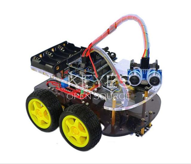 Multi-Funcional 4WD Robot Car Chassis Kits UNO R3 170 ponto Mini breadboard Para Robô Kit de Montagem de Automóveis