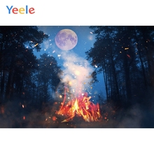 Yeele Halloween Night Moon Forest Fire Dark ghastly Photography Backdrops Personalized Photographic Backgrounds For Photo Studio