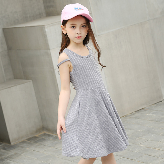 327dab153147 Summer Teen Girls Dress 2017 New Children Europe and America Simple ...