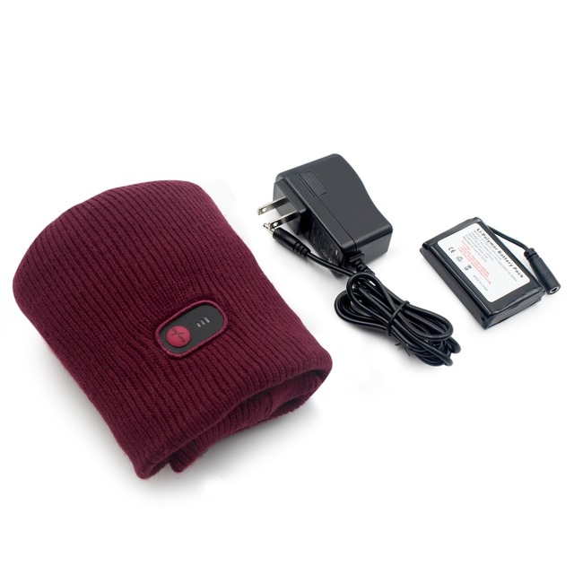 7.4V battery heated caps keep warm winter outdoor sports quick heating head warmer 3 levels control women Red 2018 4