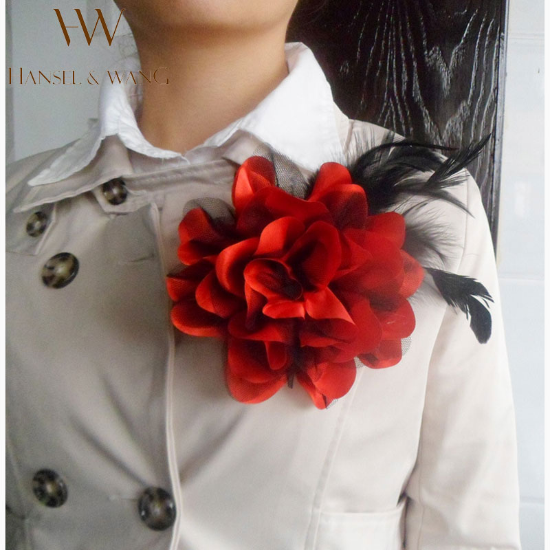new flower feather brooch hair accessories wedding corsage