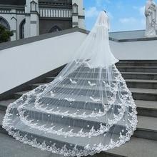 Свадебные аксессуары белые белоснежные свадебные вуали 4 м длинные 2 м широкие кружева сплошной цветок вуаль невесты для венчания Veu De Noiva реальные фотографии