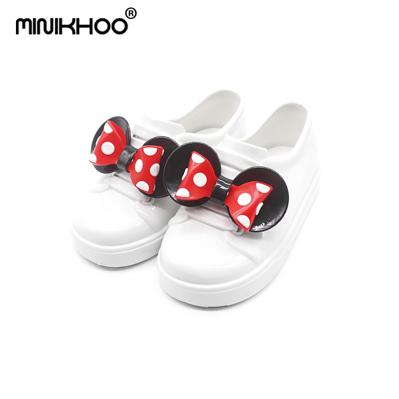 Mini Melissa 2018 New Mickey Bowknot Casual Girl Single Shoes Candy Fruit Jelly Shoes Waterproof Jacket Melissa Sandals Shoes ...