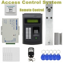 DIYSECUR Remote Control 125KHz RFID LCD Fingerprint Keypad ID Card Reader Access Control System Kit + Electric Bolt Lock 208I-S
