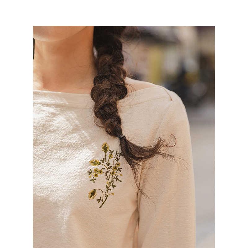 INMAN 2019 otoño nueva llegada elegante cuello barco bordado minimalismo todo combinado Casual tres cuartos manga mujer camiseta