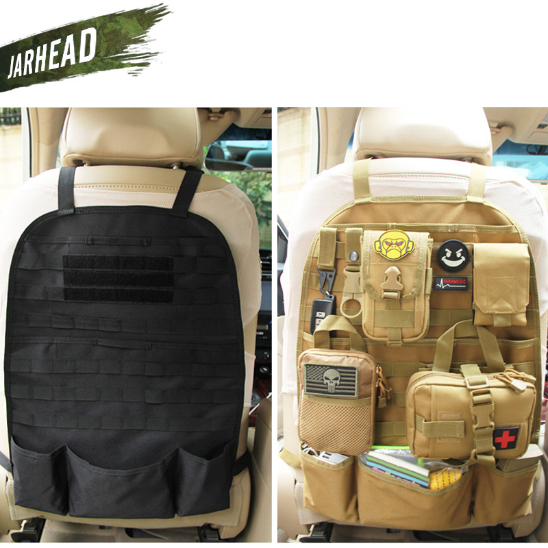 Tactical Car Seat Back Organizer Bag Molle Vehicle Panel Protector Seat Cover