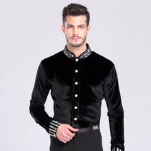 Latin Dance Top Man 165 180cm Ballroom Dance Shirt Black Spandex Velvet Drill Men Dance Shirt