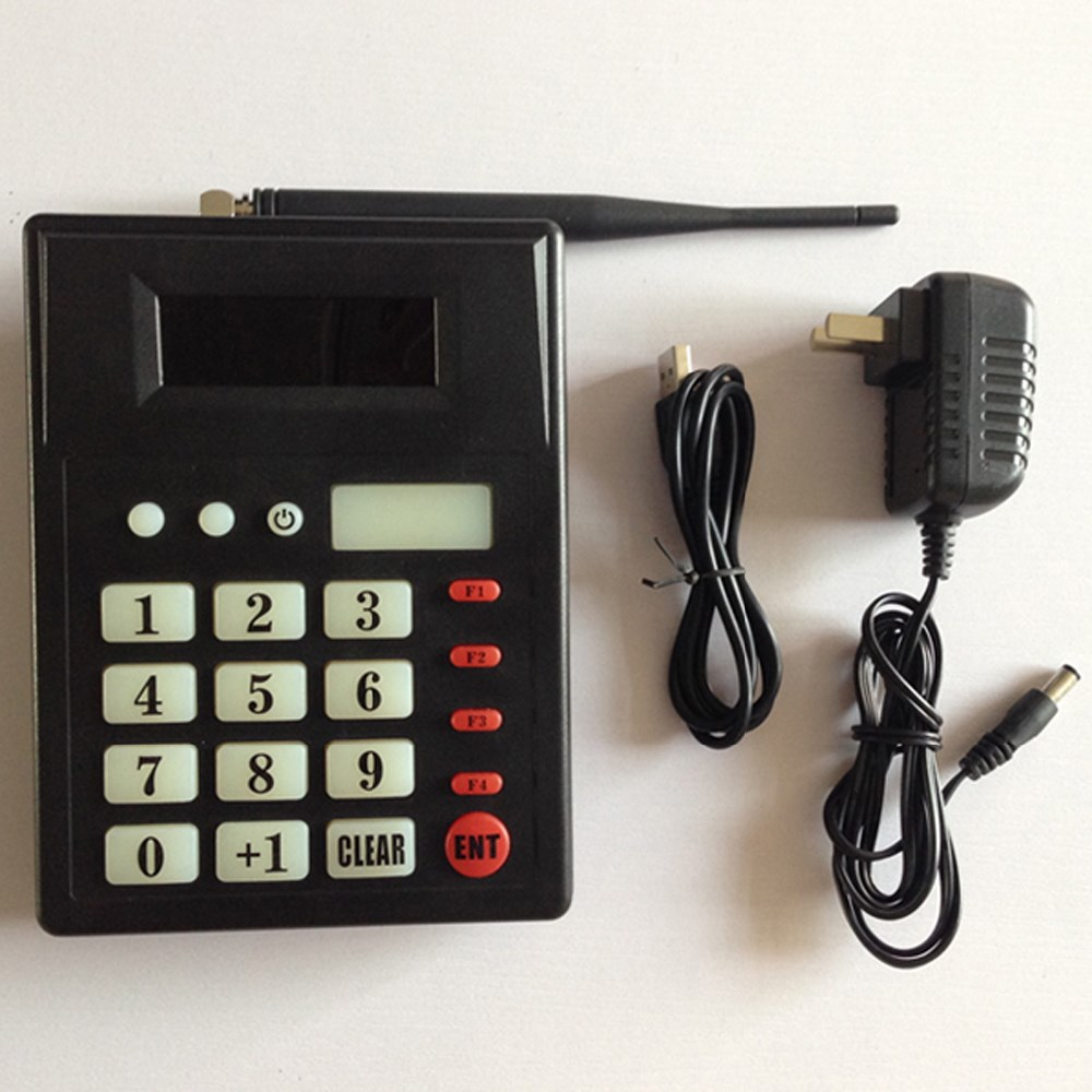 Système de serveur d'appel de cuisine sans fil pour ramasser les aliments avec vibreur pagination avec 1 clavier 1 montre 15 appel cloche avec support de menu - 5