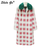 Streetwear Fur Coat Womens Winter Fashion Grid whole real Mink Fur long coat fur Turn down collar coat female Warm Fur outwear