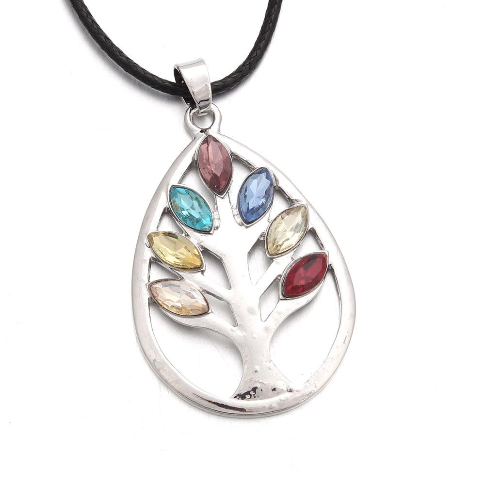 ①  Life Tree 7 Чакры Рейки Ожерелье Женщины Yoga Reiki Исцеление Балансировка 7 Чакры Подвески Ожерелье ①