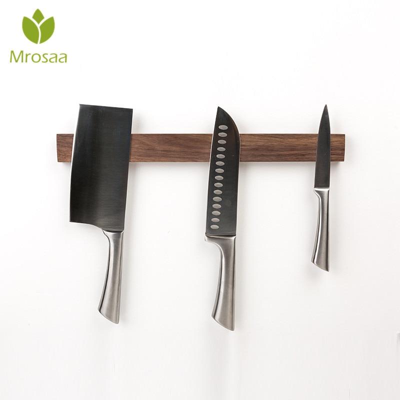 Mrosaa магнитный держатель для ножей длиной 40 см, твердый деревянный блок для хранения, Магнитный нож подставка для стойки, не нужно дырокол дл