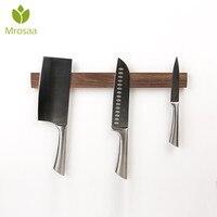 Mrosaa Magnetic 40cm Length Knife Holder solid wood storage Block Magnet Knife Holder Rack Stand no need to punch For knives