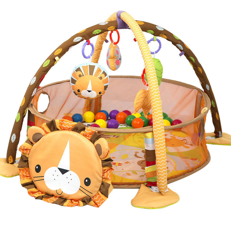 lion Baby Play Mat 0-1 Year playmat gym carpet crawling mat in the nursery Turtle toy net support 3-in-1 Marine Ball Pool Fence(China)